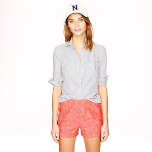 J. Crew High Rise Tap Short in Neon Coral Jaquard